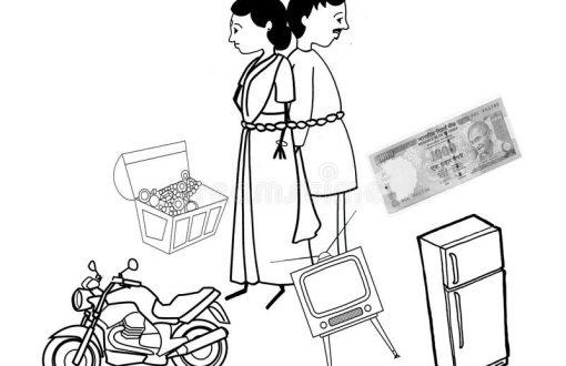 dowry-illustration-black-white-india-41675381