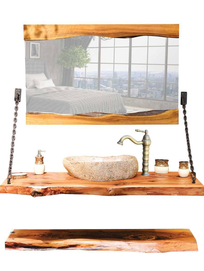 روشویی روستیک چوبی