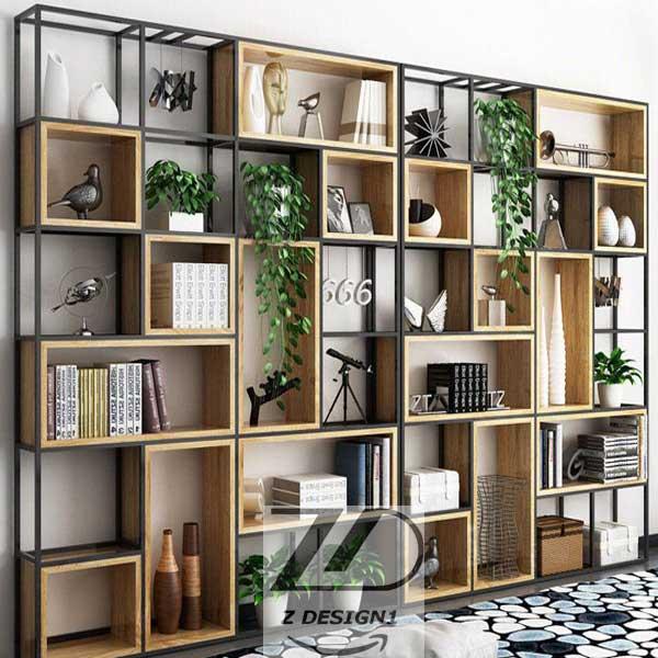 کتابخانه چوبی مناسب با فضا