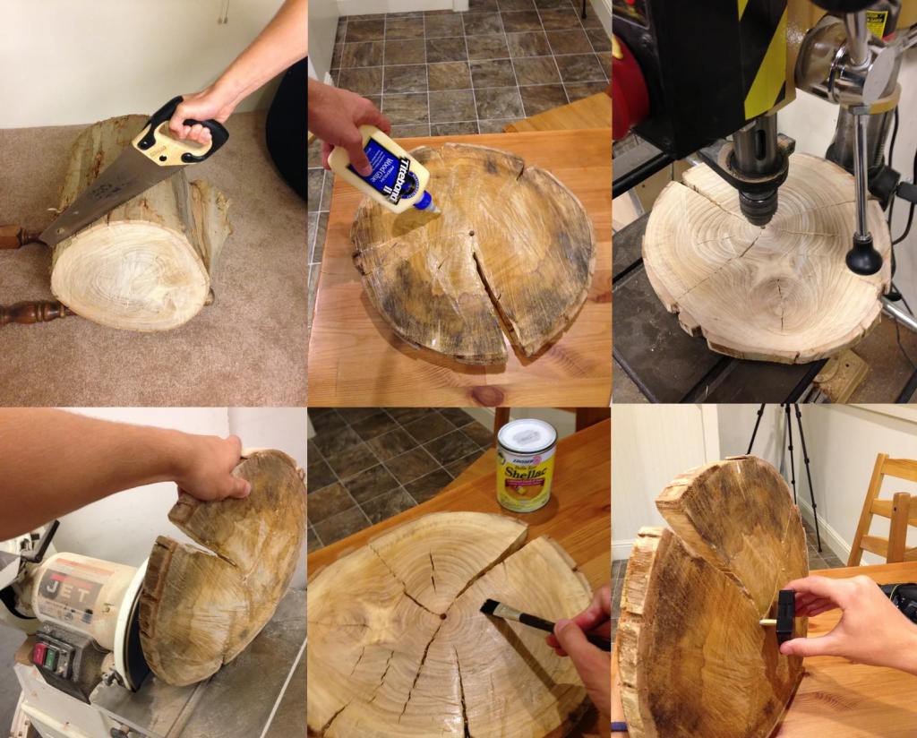 مراحل ساخت ساعت دیواری چوبی با تنه درخت